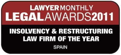 "PAJARES & ASOCIADOS ABOGADOS DESDE 1958 S.L. ha resultado elegida como vencedora del ""Legal Awards 2011"" por la revista especializada ""LAWYER MONTHLY,"" en la categoría ""Insolvency & Restructuring Law Firm of the Year, Spain"""